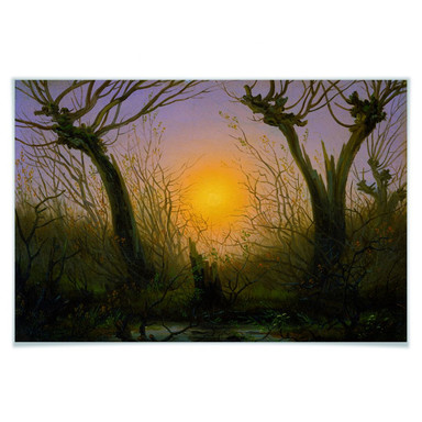 Poster Friedrich - Waldlandschaft bei tiefstehender Sonne