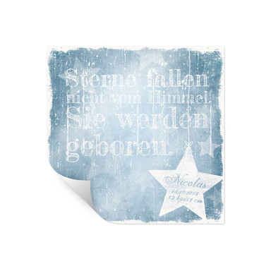 Poster Wunschtext & Name - Sterne fallen nicht vom Himmel (blau)