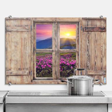 Spritzschutz 3D Holzfenster - Sonnenuntergang in den Bergen