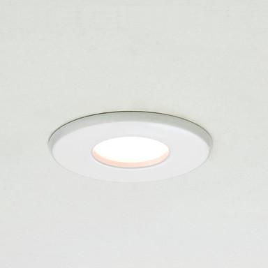 Stilvolle LED Einbauleuchte Kamo in weiss, dimmbar, IP65. ø 90 mm