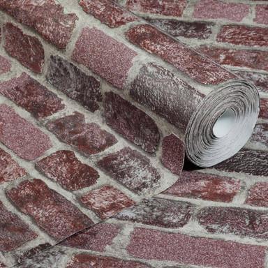 Anaglypta® Brick Baker Street Vliestapete in Vintage Backstein Optik rot, grau