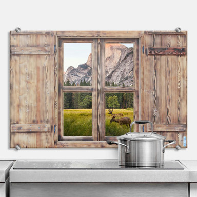 Spritzschutz 3D Holzfenster - Deers in the mountains