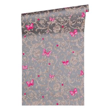 Versace wallpaper Tapete Butterfly Barocco grau, metallic, lila