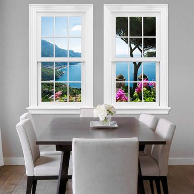3D Wandtattoo Doppelfenster - Blick auf die Amalfiküste