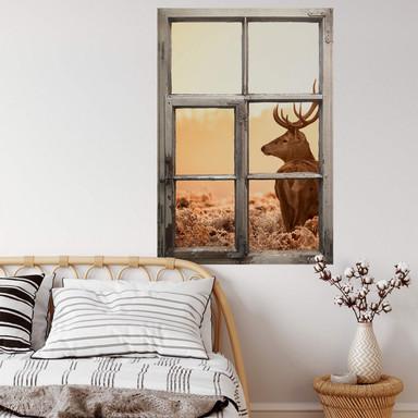 3D Wandtattoo Fenster Shabby - Majestätischer Hirsch