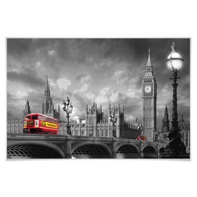 Giant Art® XXL-Poster Bus on Westminster Bridge - 175x115cm
