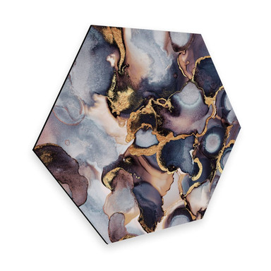 Hexagon - Alu-Dibond - Fredriksson - Tinte: Rosé und Gold