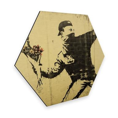 Hexagon - Alu-Dibond-Goldeffekt Banksy - Der Blumenwerfer