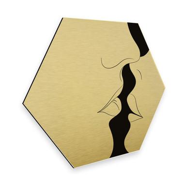 Hexagon - Alu-Dibond-Goldeffekt Nordic Creators - White Kiss