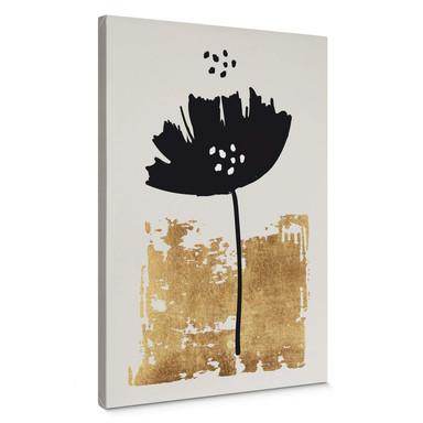 Leinwandbild Kubistika - Schwarze Blume