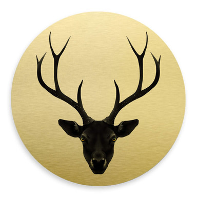 Alu-Dibond-Goldeffekt Ireland - The Black Deer - Rund