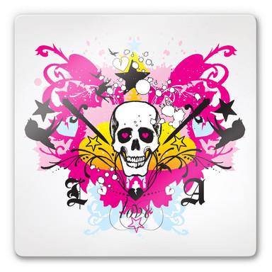 Glasbild LA Ink Totenschädel im Farbchaos