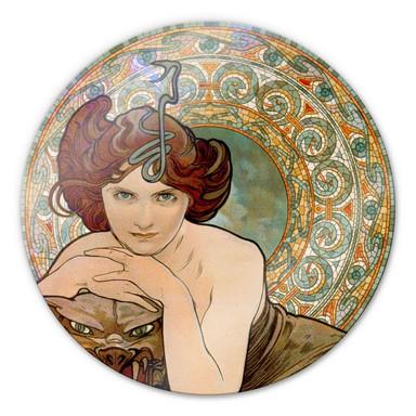 Glasbild Mucha - Edelsteine: Smaragd - rund