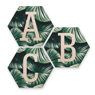 Hexagon Buchstaben - Alu-Dibond Kupfereffekt - Urban Jungle