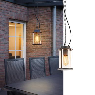 Photonia E27. Outdoor Pendelleuchte, anthrazit, inkl. 5m Kette und Anschlussleitung mit offenem Kabelende, max.60W, IP44