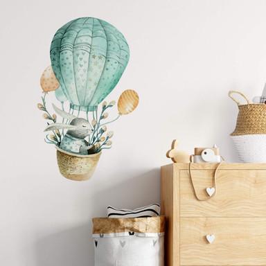 Wandtattoo Kvilis - Häschen im Heissluftballon
