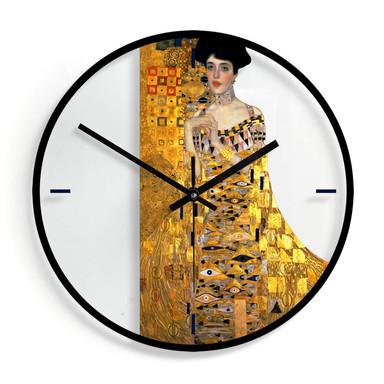 Wanduhr aus Glas - Klimt - Bildnis der Adele Bloch-Bauer Ø30cm