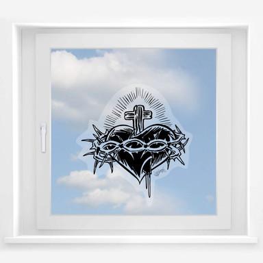 Fensterbild Miami Ink Herz mit Kreuz