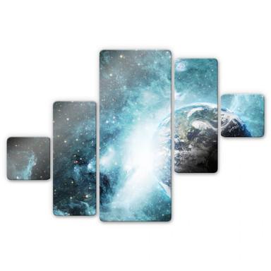 Glasbild Brandneu - In einer fernen Galaxie (5-teilig)