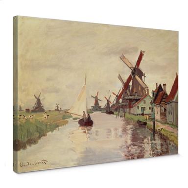 Leinwandbild Monet - Holländische Landschaft mit Windmühlen