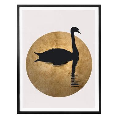 Poster Kubistika - Schwanensee im Vollmond
