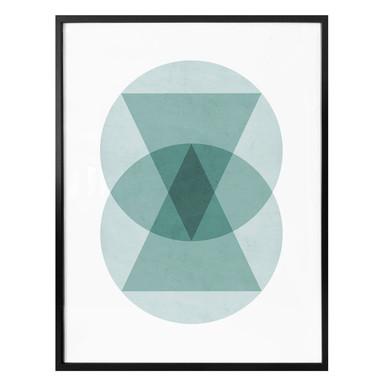 Poster Nouveauprints - Circles & triangles aqua