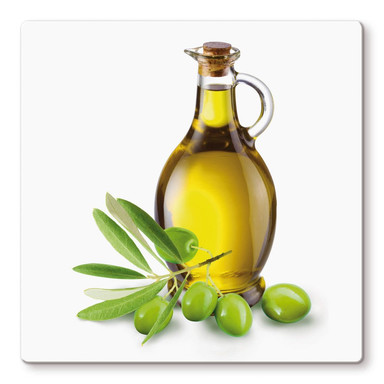 Glasbild Olives and a Bottle