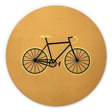 Holzbild Kubistika - Fahrrad Liebe - Rund