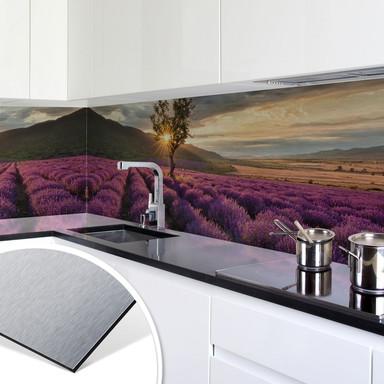 Küchenrückwand - Alu-Dibond-Silber - Lavendelblüte in der Provence