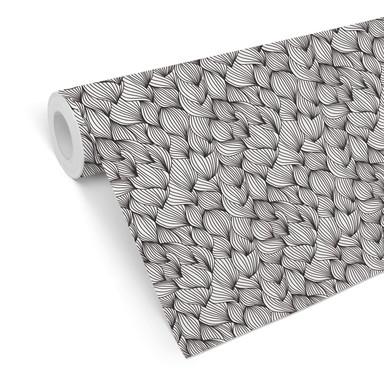 Mustertapete - Grafische Wellen - schwarzweiss