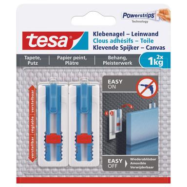 tesa® Klebenagel-Leinwand, verstellbar, für Tapete und Putz, 2x1kg - Bild 1