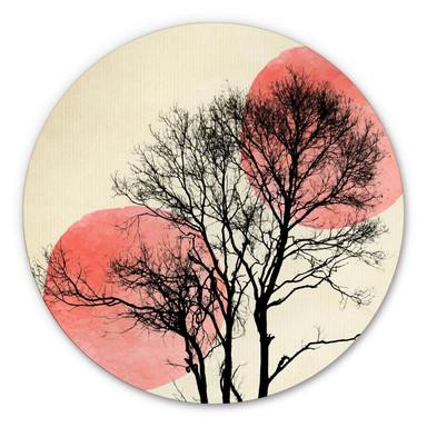 Alu-Dibond Bild Kubistika - Sonne und Mond hinter dem Baum - rund
