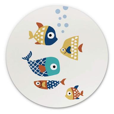Alu-Dibond Kubistika - Bunte Fische - Rund