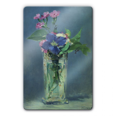 Glasbild Manet - Glasvase mit Nelken und Klematis