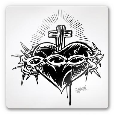 Glasbild Miami Ink Herz mit Kreuz