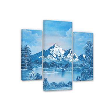 Leinwandbild Toetzke - Alpsee in den Bergen (3-teilig)