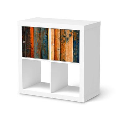 Möbel Klebefolie IKEA Expedit Regal 2 Türen (quer) - Wooden- Bild 1