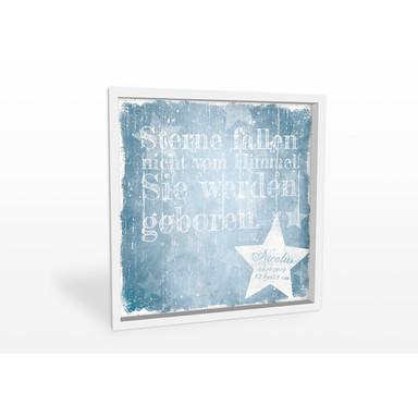 Wandbild Wunschtext & Name - Sterne fallen nicht vom Himmel (blau)
