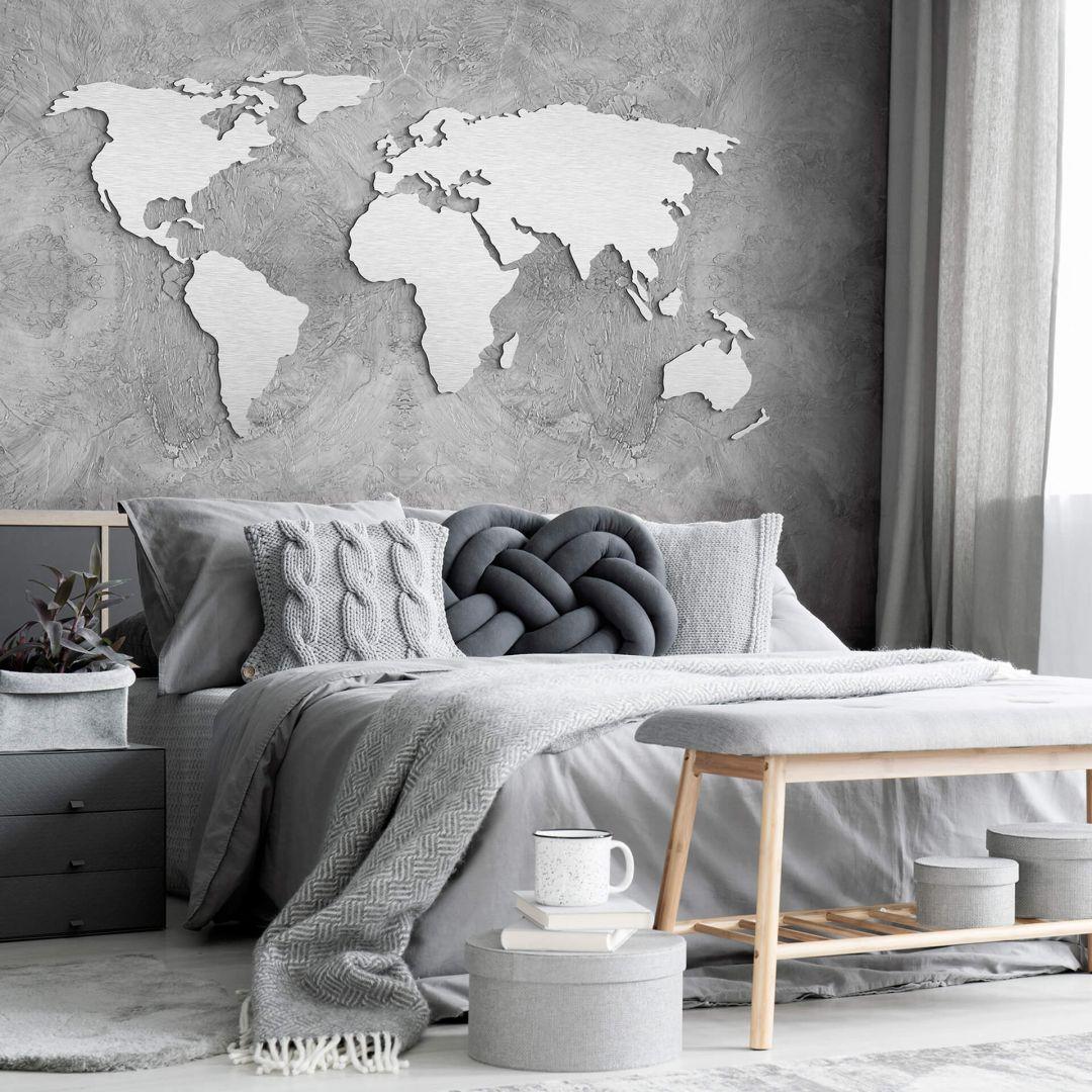 Alu-Dibond Silbereffekt 3D Weltkarte