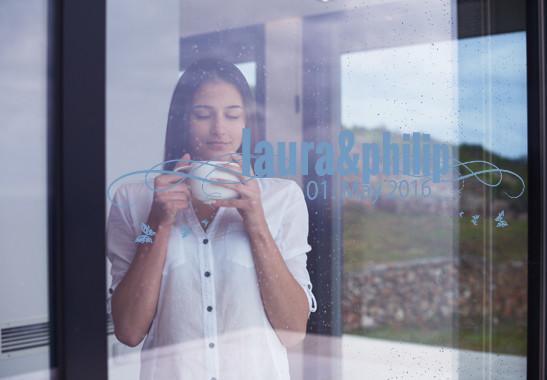 Glasdekor Wunschtext Frühlingshochzeit