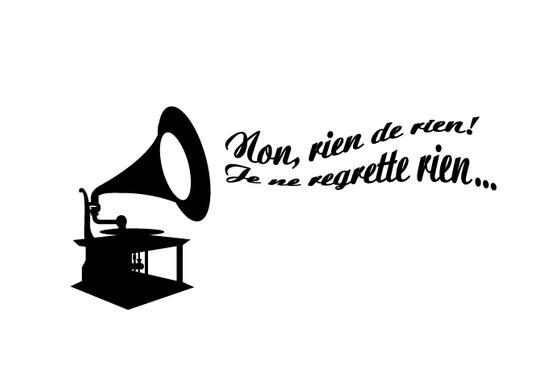 schwarz/weiss Ansicht - Wandtattoo Grammophone