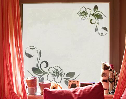 Folienfarbe in Wohnansicht: Frosted - Sichtschutz Hibiskustraum II