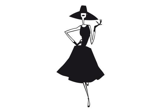 schwarz/weiss Ansicht - Wandtattoo Lady
