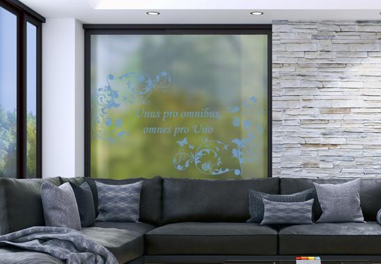 Glasdekor Wunschtext Floraler Rahmen