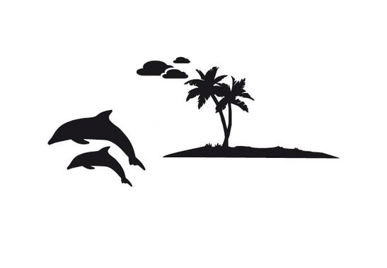 schwarz/weiss Ansicht - Wandtattoo Dolphins Island