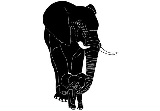 schwarz/weiss Ansicht - Wandtattoo Elefantenmutter & Junges