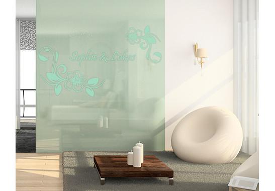 Folienfarbe in Wohnansicht: Refreshing Mint - Glasdekor Wunschtext Hibiskustraum