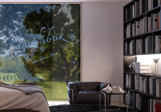 Glasdekor Wunschtext Unsere Traumfabrik