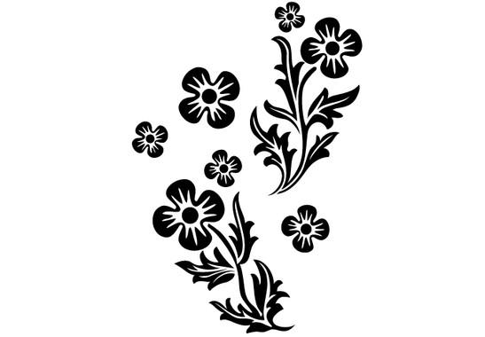 schwarz/weiss Ansicht - Wandtattoo Wachsende Pflanze