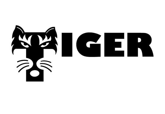schwarz/weiss Ansicht - Wandtattoo Buchstaben Tiger
